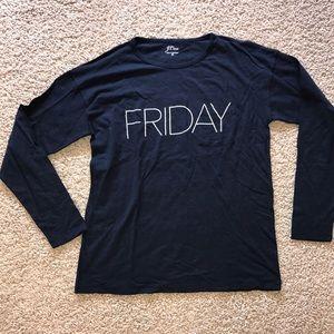 J Crew Friday Long Sleeve T Shirt Navy